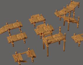 Toon Wooden Bridge Full Pack 3D model