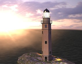 3D model Lighthouse on the island