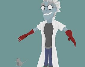 Crazy Scientist and Nerdy Mouse 3D model