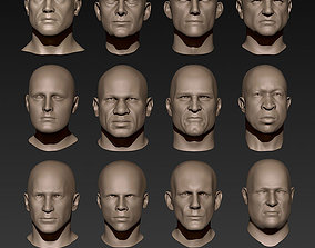 12 Male Heads 3D model