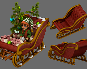christmas elf and christmas sleigh 3D model animated