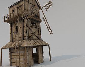 3D asset Medieval Wooden Windmill PBR