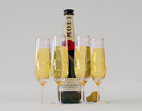 3D model Realistic Champagne bottle and glasses