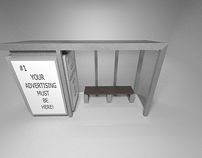 3D asset game-ready PBR Bus stop