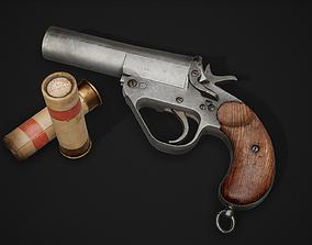 3D asset PBR Webley No 1 Mk IV Flare Signal Pistol
