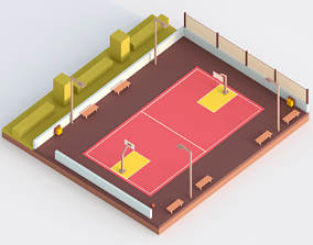 Low Poly Basketball Court 3D model