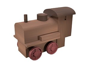 Low Poly Wooden Toy Train 3D asset