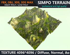 Low poly Realistic Green Mountain Terrain 08 - 3D asset 1