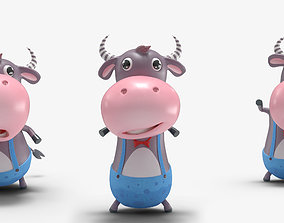 Cartoon Little Cow Rigged 3D asset animated