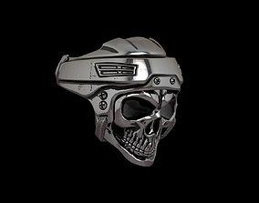 Hockey - Bikers Skull Ring - 3D Print Model
