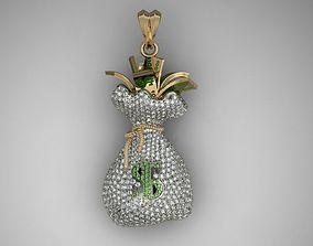 3D print model Money Bag pendant with gemstones