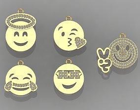 GC GOLD H050- face Diamond Gold necklace 3D print model