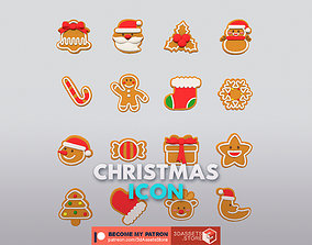 3D model game-ready Enviroment - Christmas Icon Pack