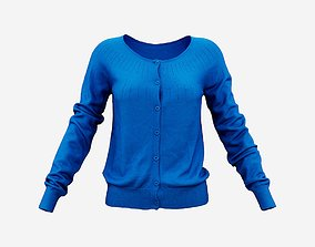 3D model Blue Buttoned Top