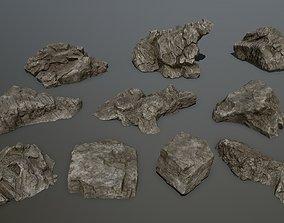 rock set 1 3D asset low-poly