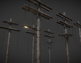 Wooden Electric Poles Pack - 8 Variations 3D asset