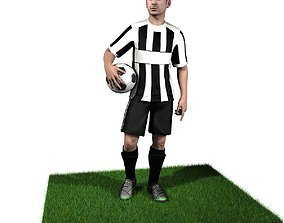 rigged Adult Male Soccer Player Rigged 3D model model