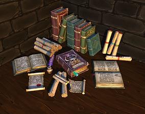 Books and Scrolls vol-01 3D asset