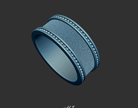 Mans Beaded and Textured Wedding Band 3d Model Stl File