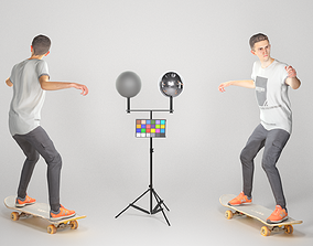 3D model Animated man riding on a skateboard 35