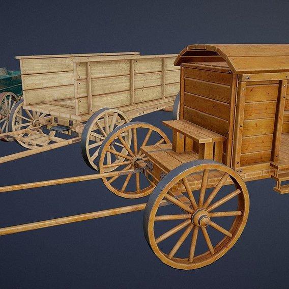 Modular Wooden Carts set