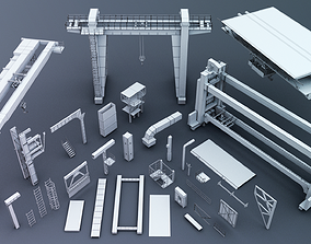 Industrial kitbash 3D model game-ready
