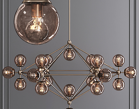 3D model Modo 6 Sided Chandelier 21 Globes Bronze and 1