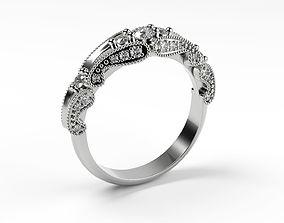 Thin Vintage Engagement Ring 3D print model