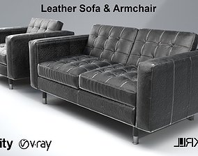 Leather sofa and armchair 3D model