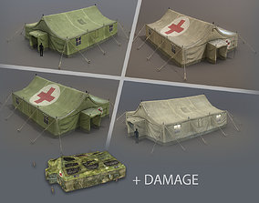 3D model Military Tent 01 FourLiveries with Damage