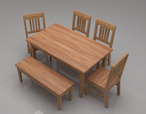 3D asset Avilys Solid Wood Six Seater Dining Set