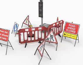 Road traffic signs set Low poly 3D asset