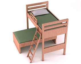 Wooden Bunk Bed 3D