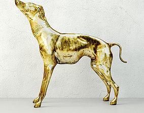 decoration 3D Large Brass Greyhound