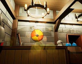 Low Poly Medieval Fantasy Merchant Shop 3D model 2