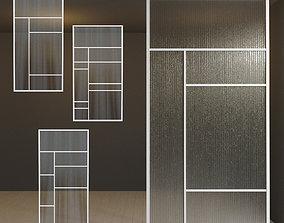 Glass partition door 30 3D asset