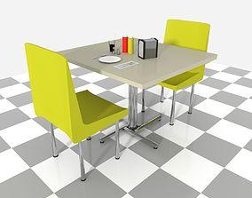 Booth set dinner 3D asset