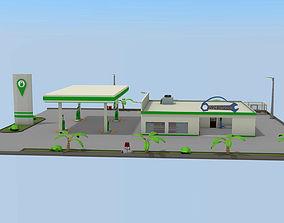 Gas station- Car service 3D model