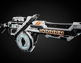 3D model futurism Sci-fi gun For BLENDER