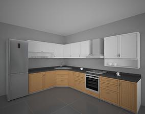 refrigerator Semi classic Kitchen Set 3D model