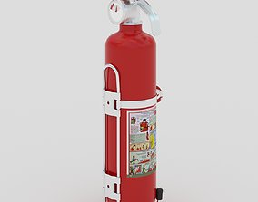 3D Powder extinguisher on stand fireman