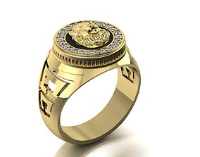 signet ring with lion head two options 3D print model