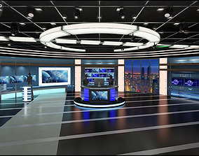 Virtual TV Studio News Set 27 3D