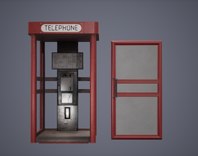 3D model Telephone Booth Low Poly Game Ready