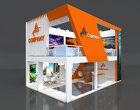 3D Exhibition Stand Booth Stall 8x5m Height 550cm 2 Side