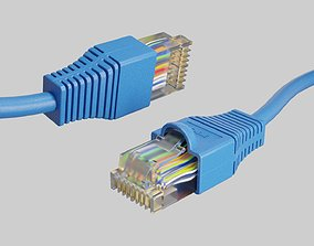Ethernet cable RJ-45 Plug 3D model