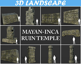 Low poly Mayan Inca Ruin Temple Modular Pack 01 3D