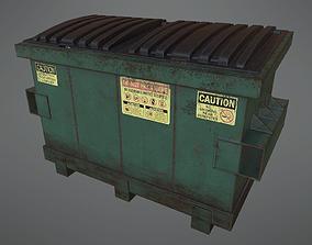 3D asset Lowpoly PBR Rusty Dumpster and Trashbag