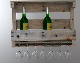 3D asset Wine Rack and glass holder from Wood pallet