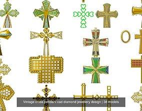 Vintage cross pendant cad diamond jewellery design 3D
